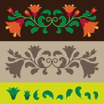 Vintage Floral Ornaments Elements Set