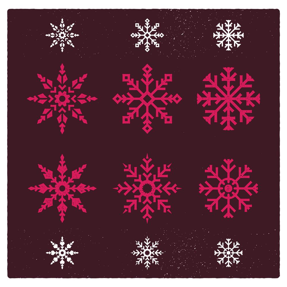 Snowflake Vector Vintage Ornaments Set