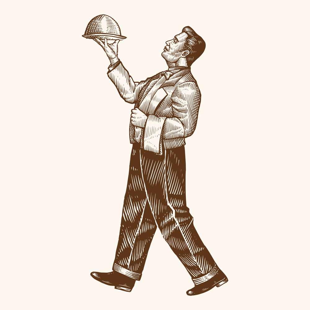 Hand-drawn Restaurant Waiter's Holding Tray For Hot Dishes