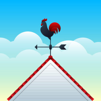 Rooster Weather Vane Illustration.