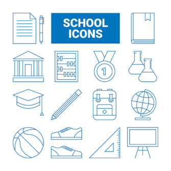 School Outline Icons Set