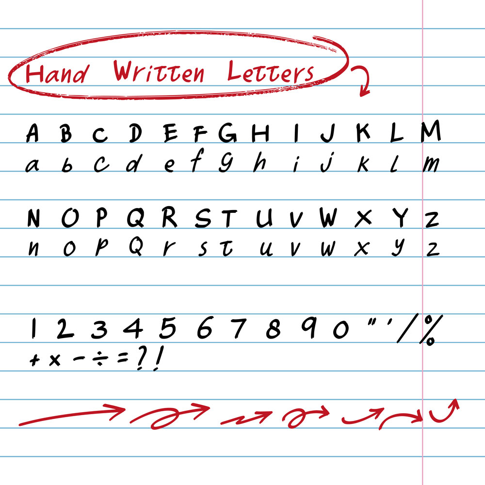 Hand drawn written letters upper and lower case letters element set