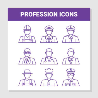Profession Outline Icons Set