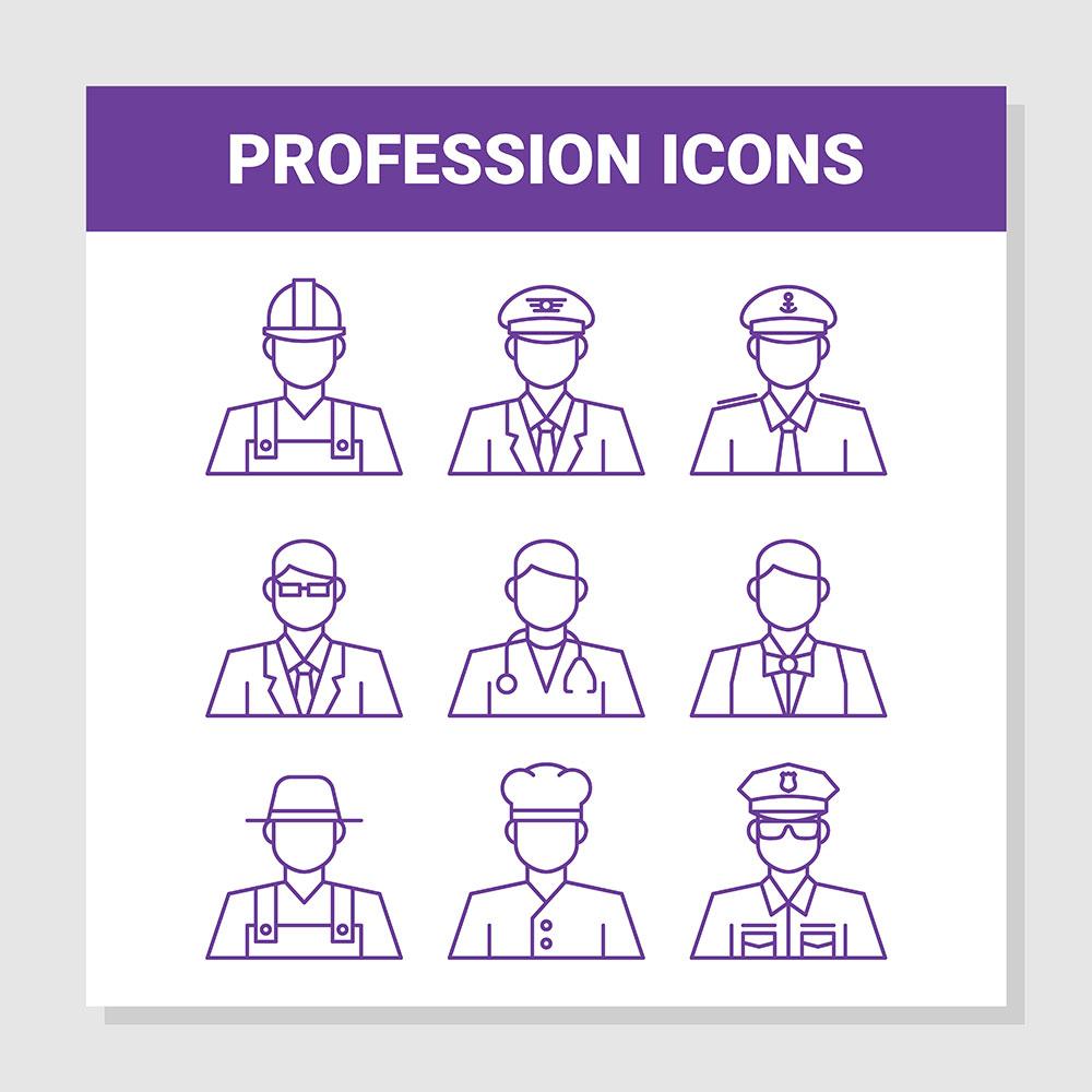 Profession Outline Icons Set