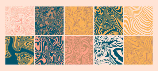 Trendy marble seamless pattern element set