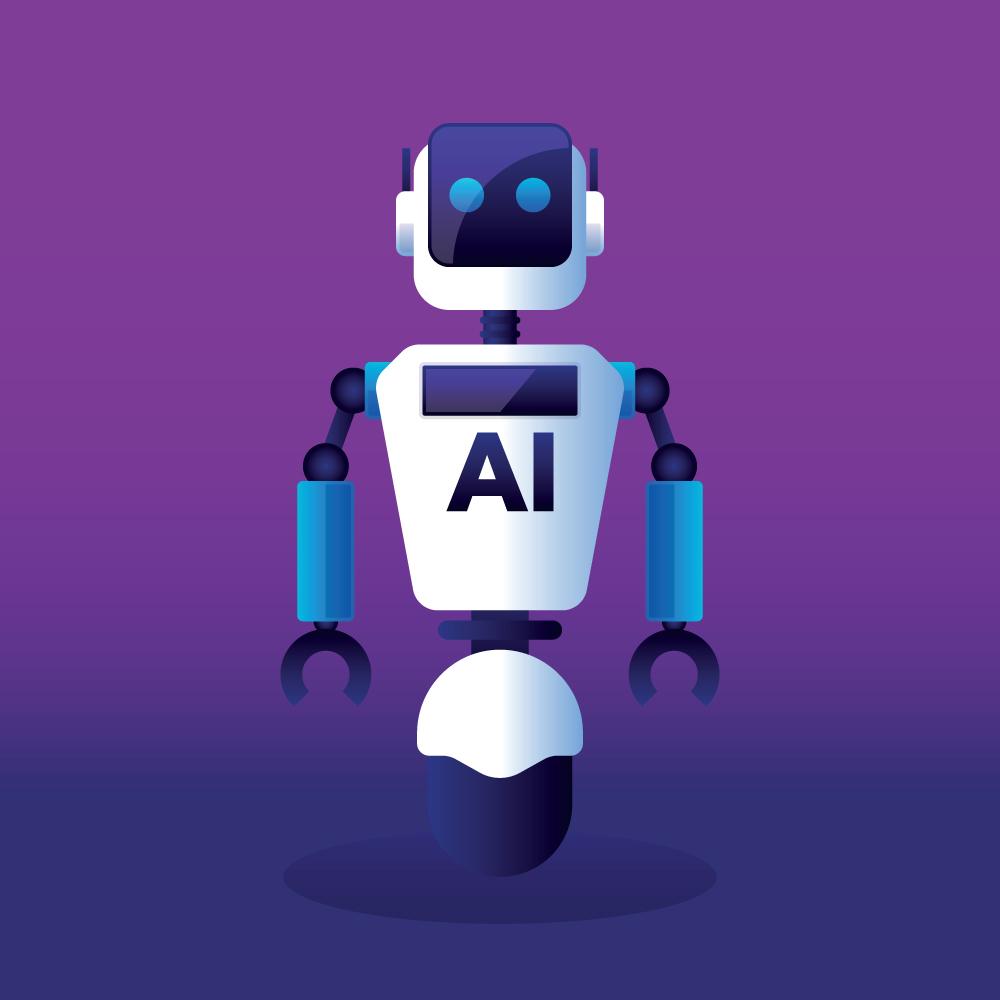 Flat Robot Design Illustration