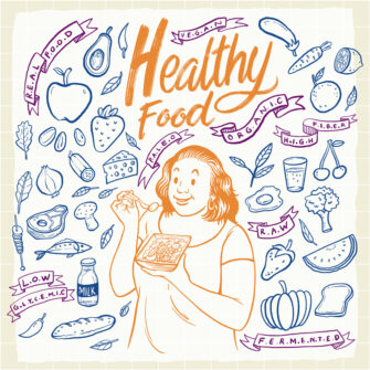 Hand-drawn Healthy Food Element Set