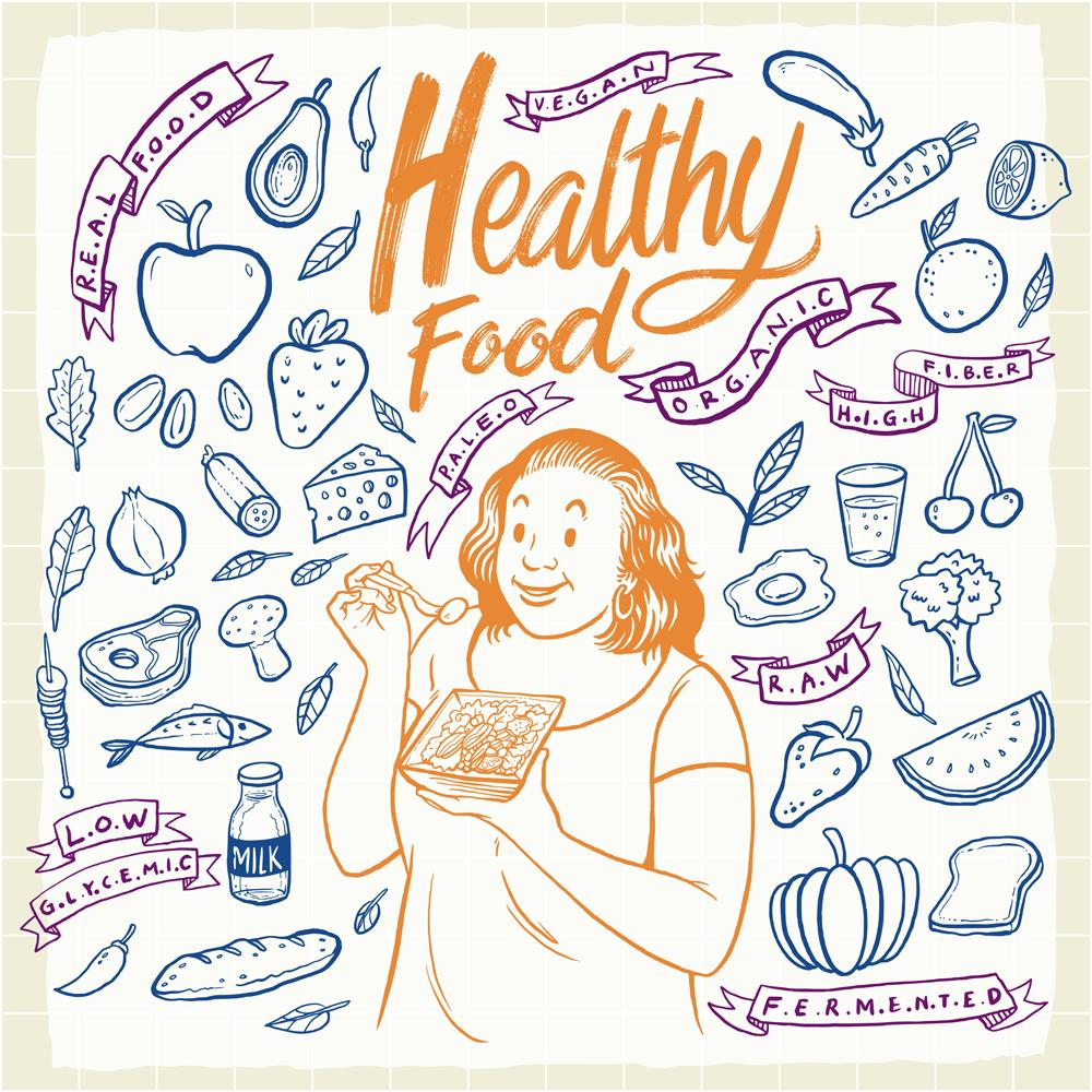 Hand-drawn Healthy Food Element Set