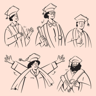 People Doodles Celebrate Graduation