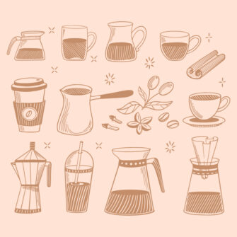 Doodle Coffee Shop Icons