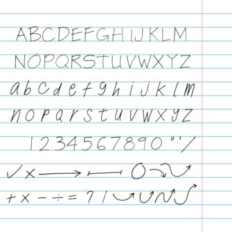 Hand drawn architect writing upper and lower case letters set