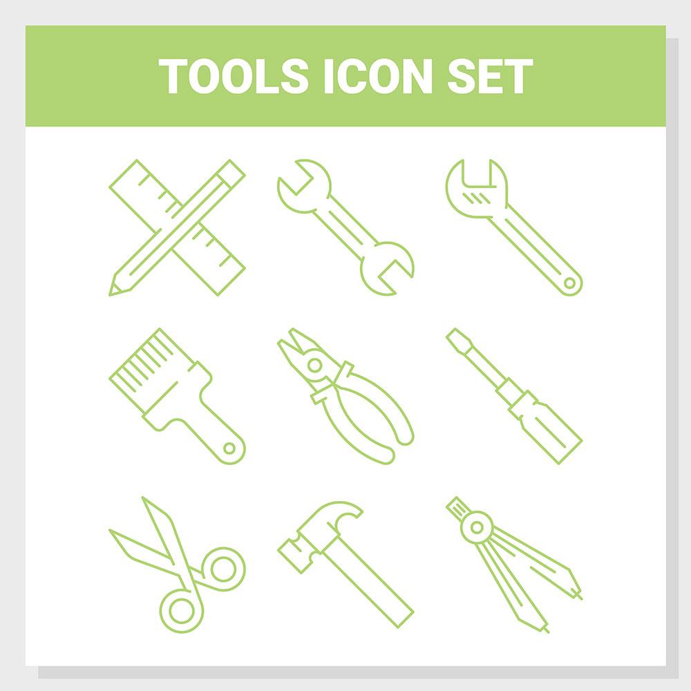 Tools Outline Icon Set