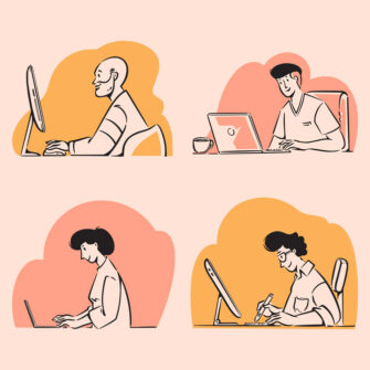 Freelancers working on laptops and computers doodles illustration