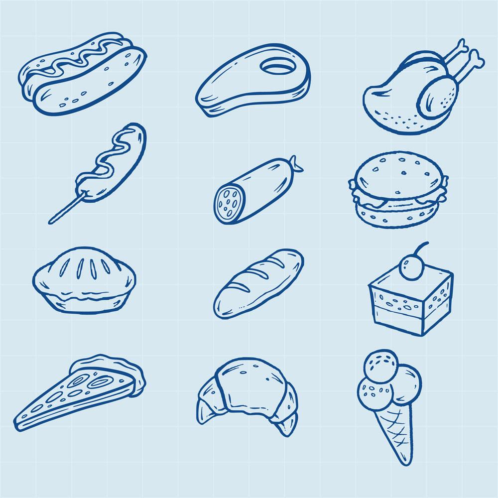 Hand-drawn fast food icons