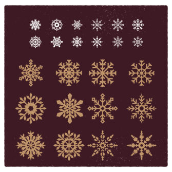Snowflake Vector Vintage Ornaments Set