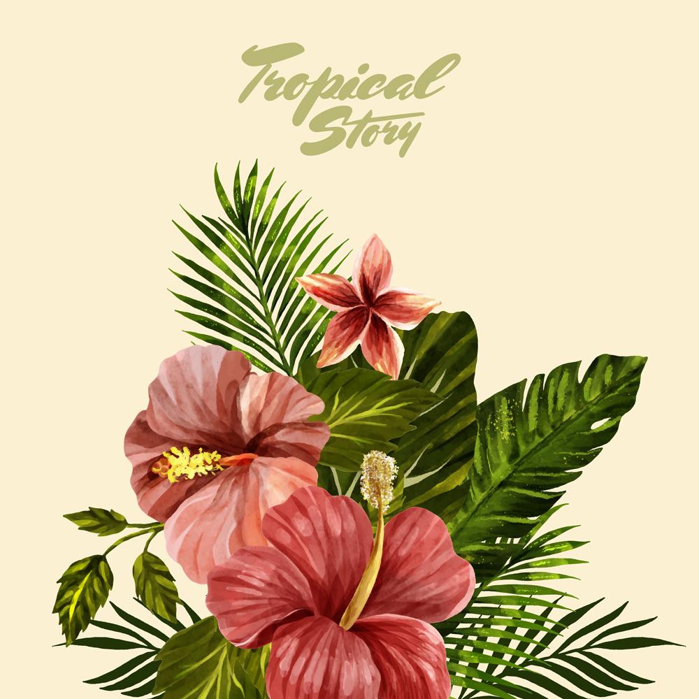 Retro Hawaiian Style Floral Bouquet