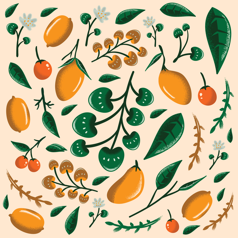 Pattern Of Mango, Leaves And Dots Seamless Patterns Vector Set