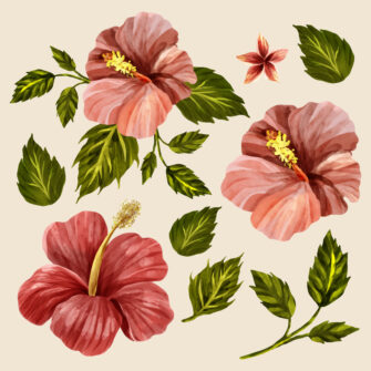 Retro Hawaiian Hibiscus Style Floral Collection