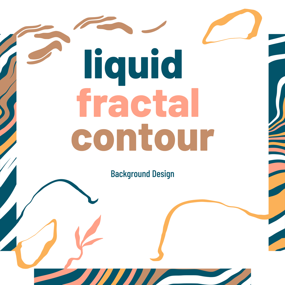 Abstract Painted Trendy liquid fractal contour background