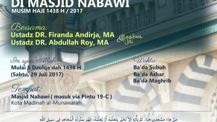 Bagi Jemaah Umrah Indonesia, Jangan Lewatkan Lima Hari Kajian Berbahasa Indonesia di Masjid Nabawi