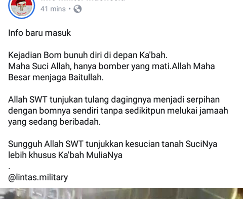 Ka'bah Diserang Bom Bunuh Diri, Benarkah?