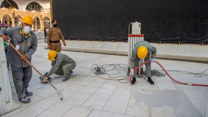 Marmer Khusus Didatangkan Untuk Mengganti Lantai Tawaf Masjidil Haram