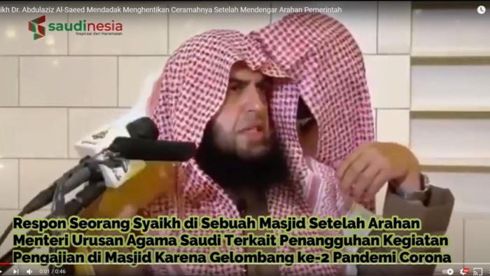 Reaksi Syaikh Saat Ceramah di Masjid Setelah Mendengar Arahan Menteri Urusan Islam Saudi